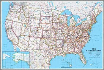 24x36 United States USA US Classic Wall Map Poster Mural Laminated