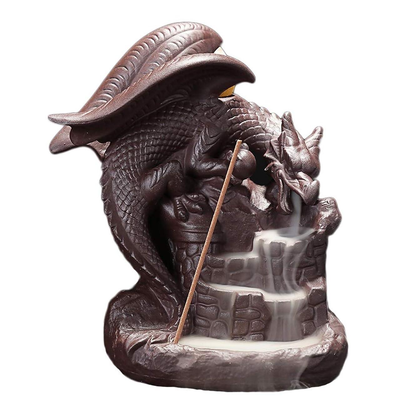 見つけた爵リングセラミック逆流香炉ドラゴン磁器香スティックコーンバーナーホルダーホームフレグランス工芸品装飾香ホルダー (Color : Brown, サイズ : 5.11*6.29 inches)