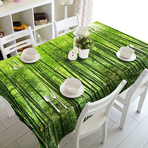 ZWBBO Tafelkleed huisdecoratie Wasbaar katoen d Tafelkleed Landelijk Groen Bos Landschap Patroon Eettafel decoratie Rechthoekige Doek