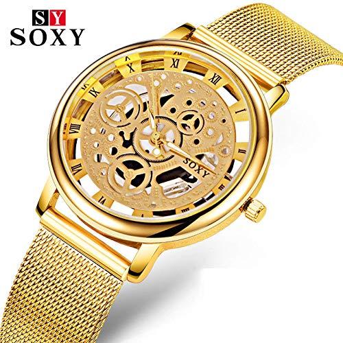 Relojes Hermosos, SOXY Hombre Pareja Reloj de Vestir Reloj de Moda Reloj de Pulsera Cuarzo Huecograbado Aleación Banda Casual Plata Dorado Dorado Plata ( Color : Oro , Talla : Para Hombre-Una Talla )