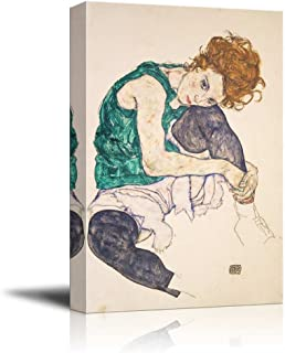 wall26 - Seated Woman with Bent Knee by Egon Schiele - Canvas Print Wall Art Famous Painting Reproduction - 24