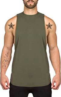 PAIZH Men's Fitted Muscle Cut Workout Tank Tops Gym Bodybuilding T-Shirts