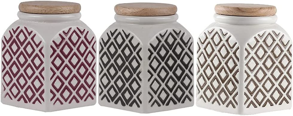 YHYH Quantity limited Jars Square Ceramic Canister Set Airtight Stor Austin Mall Food Piece 3