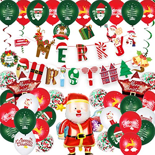 Santa Claus Decorations Balloons,Hanging Swirls Balloons for Home Decor ,Xmas Party Supplies Decoration Props,Holiday Decoration