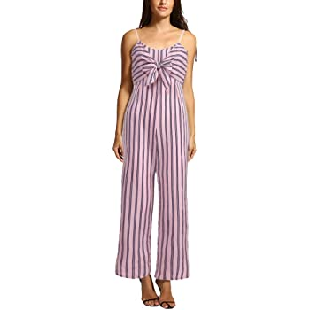 Handyulong Women Jumpsuits Stripe Print Bowknot Strap Camii Pants Casual Playsuit Rompers for Teen Girls