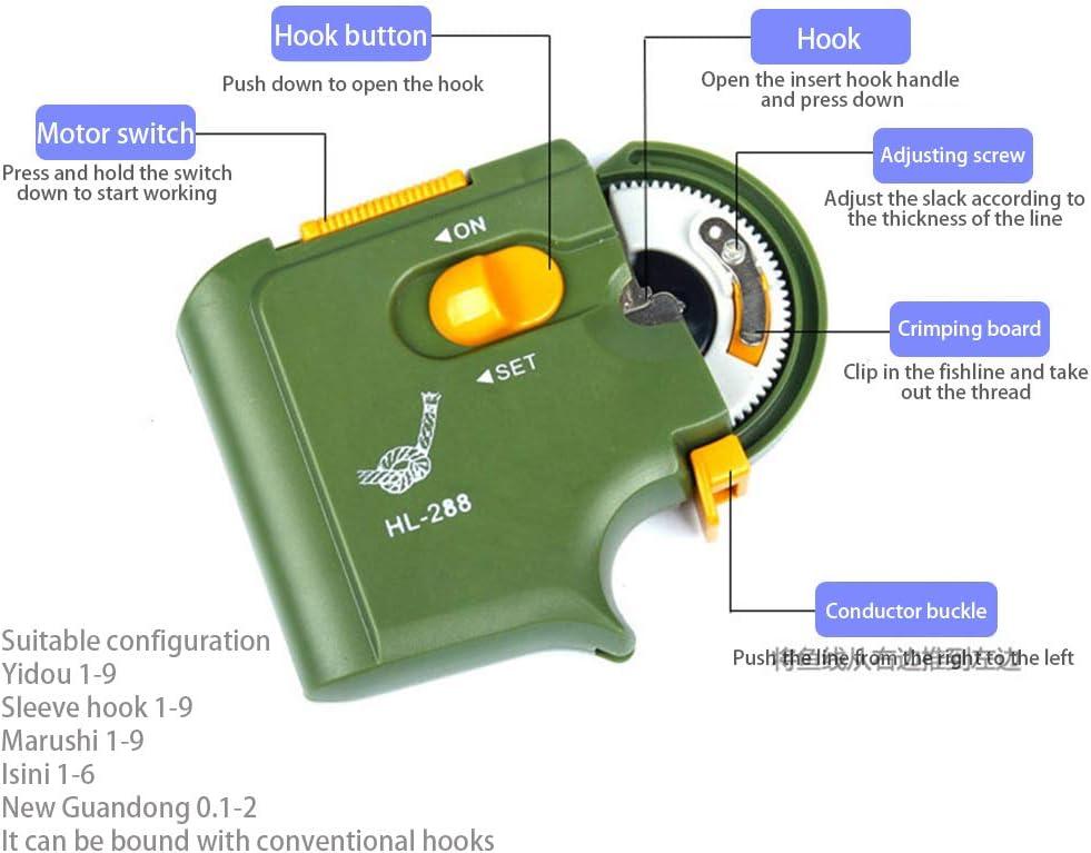 Tixiyu ganchos de pesca autom/áticos atar dispositivo nudo herramienta l/ínea r/ápida dispositivo el/éctrico atar
