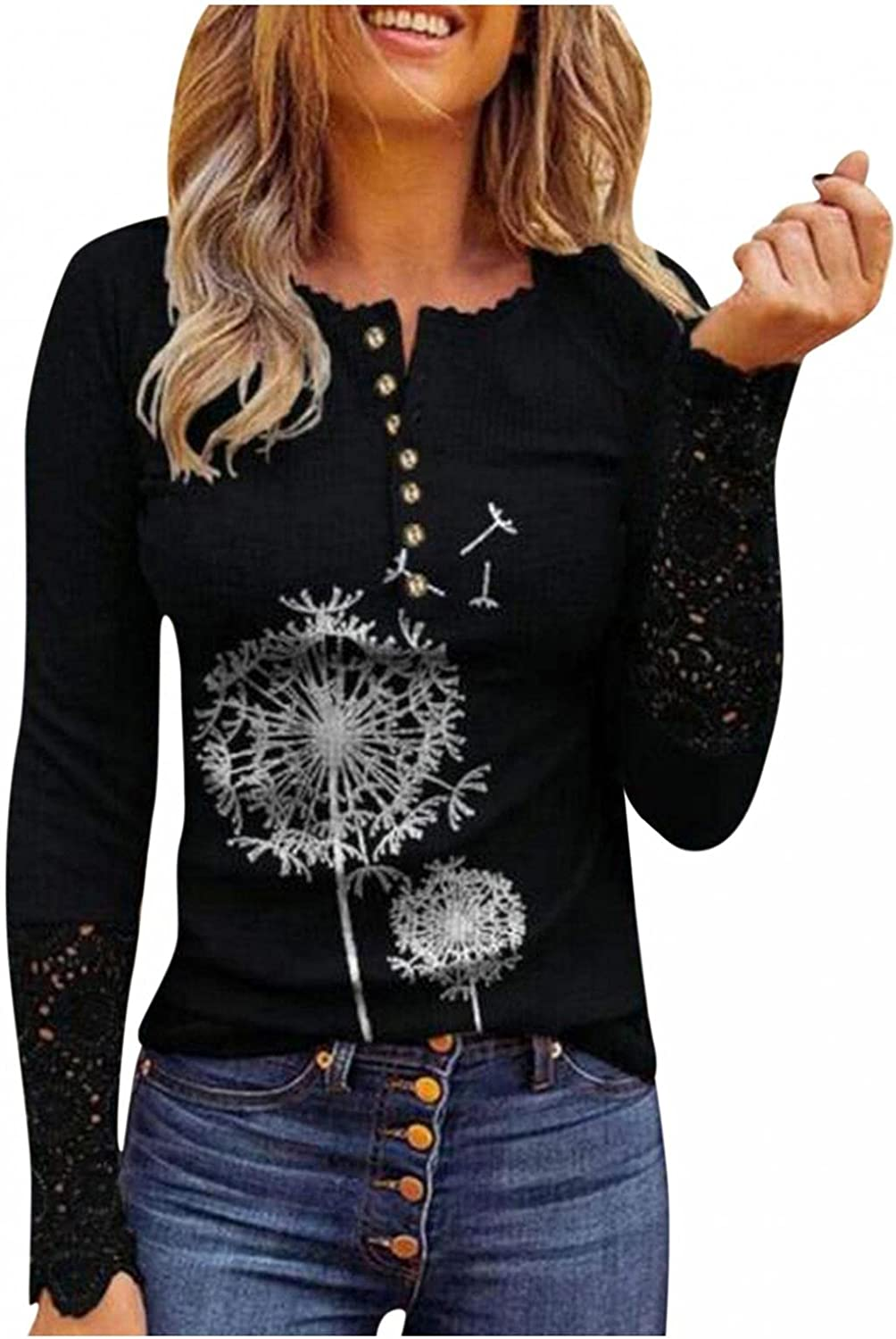 Womens Henley V Neck T-Shirt Ribbed Knit Slim Fit Casual Tops Tunic Long Sleeve Lace Button Up Shirts Blouses