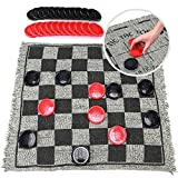 Jumbo Checkers Board Game and Super Tic Tac Toe Toy for Kids, Tweens, Teens, and Adults, 3 in 1 Gift for Boys and Girls, Giant Reversible Rug with Large Pieces Activity Set for The Family