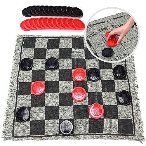 SMALL FISH Jumbo Checkers Board Game and Super Tic Tac Toe Toy for Kids, Tweens, Teens, and Adults, 3 in 1 Gift for Boys and Girls, Giant Reversible Rug with Large Pieces Activity Set for The Family