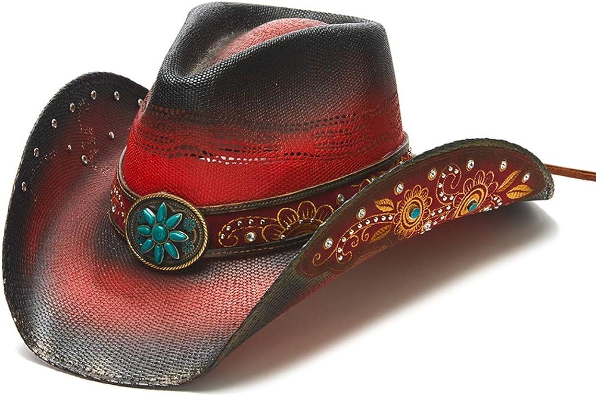 Super popular specialty store Stampede Hats Women's Red Wild Hat Beaded Flower Industry No. 1 Western