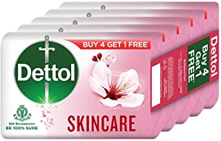 Dettol Skincare Germ Protection Bathing Soap bar 125gm, Buy 4 Get 1 Free
