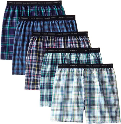 Hanes Men's 5-Pack Woven Exposed Waistband Boxers, Fashion Plaid, Small