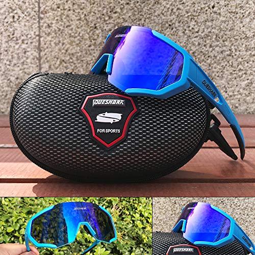 Queshark Radbrille Polarisierte Sportbrille Fahrradbrille mit UV-Schutz 3 Wechselgläser für Herren Damen, für Outdooraktivitäten wie Radfahren Laufen Klettern Autofahren Angeln Golf (Blau) - 5
