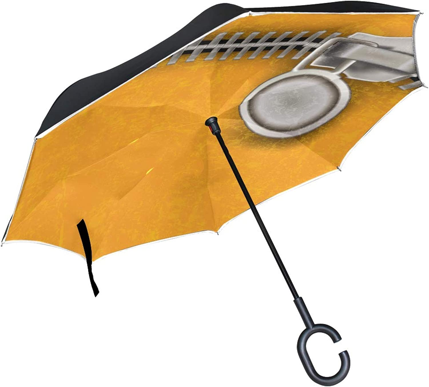 132e0348e990 Double Layer Ingreened Abstract Yellow Close Steel Zipper Umbrellas ...