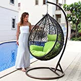 Island Gale Hanging Basket Chair Outdoor Patio Furniture with Stand and Cushion (Brown Wicker, Lime Cushion)