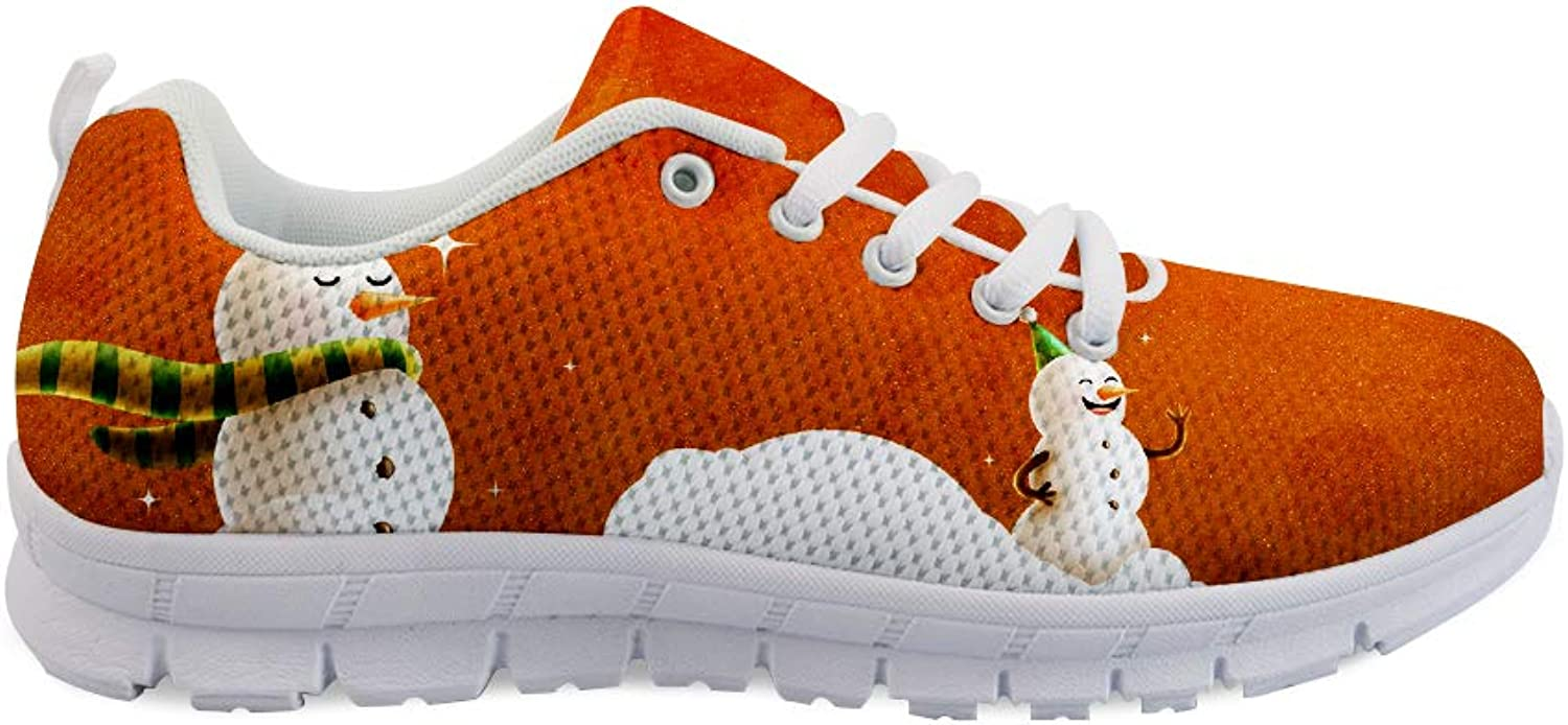 Owaheson Lace-up Sneaker Training shoes Mens Womens Xmas Scarf Happy Snowman