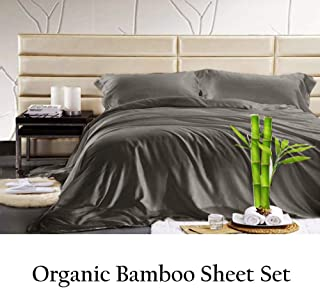 Jvin Fab 100% Bamboo Sheet - Super Soft & Cool | Luxurious Sateen Weave | 4 Piece Sheets (King, Elephant Grey)