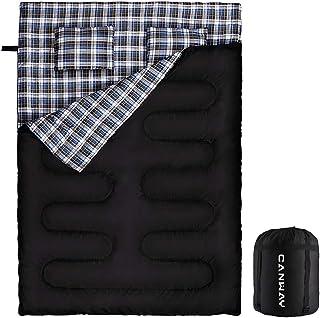 CANWAY 寝袋 2人用 防水シュラフ スリーピングバッグ 封筒型 キャンプ 最低使用温度-3℃ 連結解体可能 枕2つ・収納パック付