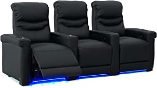 Octane Challenger XS700 Row of 3 Seats, Straight Row in Black Leather with Power Recline
