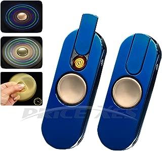 Metal Hands Fidget Spinner Toy Stress Reducer - Rechargable LED Light Flashing - EDC Fidgeter Stress Relief Stainless Steel Bearing High Speed (TYPE 3, blue)