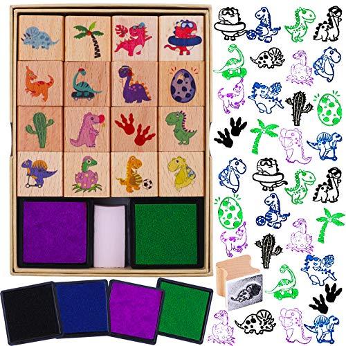 HOWAF 16 Dinosaurio Sellos para Niños Manualidades con Almohadilla de Tinta 4, Madera Sellos para Niños Bricolaje Scrapbooking Tarjeta Impresión, Dinosaurio Fiesta Rellenos Favor Regalo para Niños