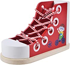 Muyindo Wooden Shoes Deluxe Wood Lacing Sneaker (Learn to Tie a Shoe Educational Toy, Encourages Independence)