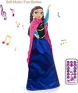 VikriDa Recording Frozen Doll Baby Toys Princess Anna Musical Funny Doll for Kids Girls Bump and Return Technology Hand Swing + Recording + Moving Rotating Doll Toy with Remote Control