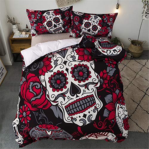 Juego de ropa de cama Sugar Skull Rojo Girasol y edredón de calavera Funda nórdica para Halloween Esqueleto gótico Skullon Decoración Juego de cama con 1 fundas de almohada Tamaño doble 200X200cm