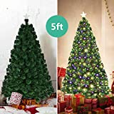 Goplus 7FT Artificial Christmas Tree Pre-Lit Optical Fiber Tree 8 Flash Modes W/UL...