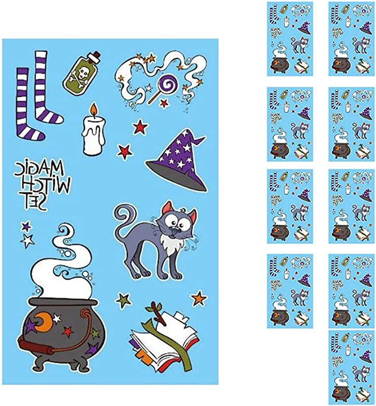 Nikgic 10 Sheets Of Halloween Stickers For Window And Showcase Stickers Pumpkin Cat Bat And Ghost Stickers Decoration