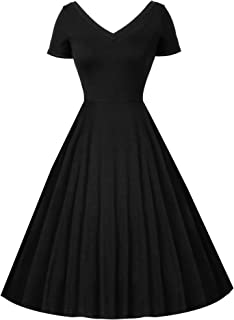 Women's V-Neck Loose Plain Dresses Swing Casual Solid Color Short Sleeve Pinup Dress with Pockets