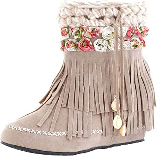 HOSOME Women Snow Boots Short Tube Boots Fashion Suede Fringed Flat Heel Boots