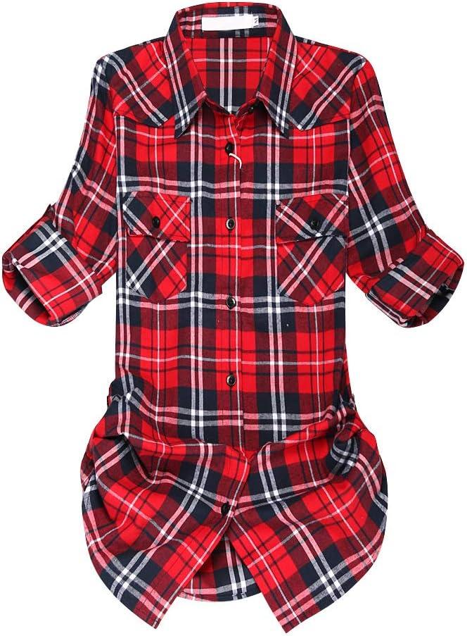 قميص نسائي كلاسيكي منقوش من الفلانيل بأكمام متوسطة الطول