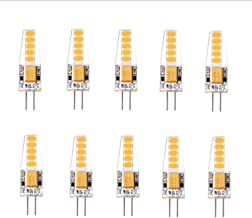 Led bulbs, 10pcs G4 2W LED Bulb 10 SMD 2835 LED Light Bulb,Replaces 20W Halogen Lamps, 170LM, AC/DC 12V, Warm White, 360 D...