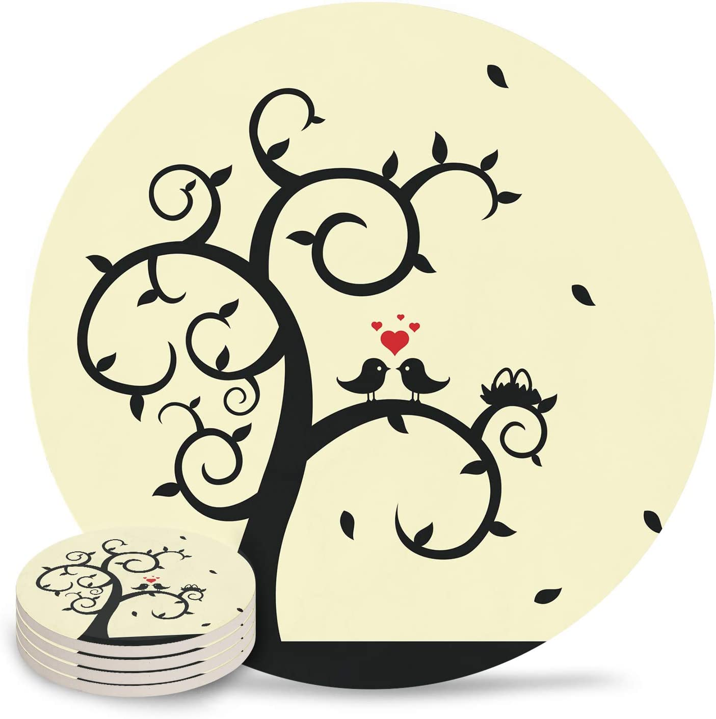 Coasters for Drink Valentine Day Silhouette Max 71% OFF Absor Max 86% OFF Love Bird Tree