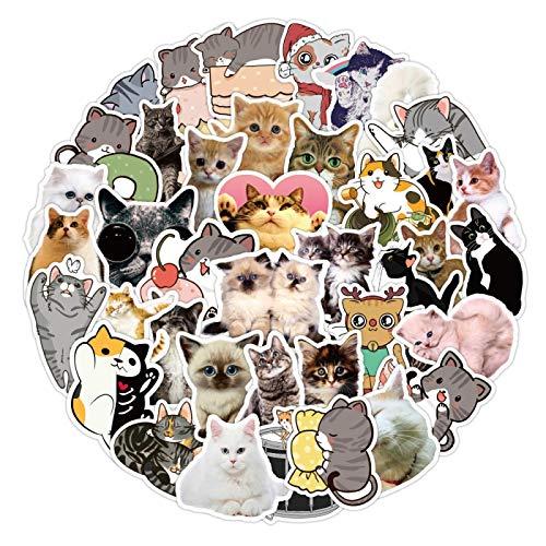 XIANYING Pegatinas de Gato Kawaii para niña, Bonitos Dibujos Animados, Pegatina de Animales para Maleta, papelería, Nevera, Botella de Agua, Guitarra, 50 Uds.