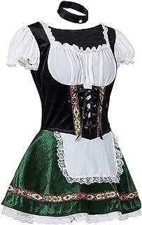 Mxssi Damen Oktoberfest Kleid Bayerisch Bier MäDchen Dirndl Lace-up Slim Fit Maid Kleid mit Schürze Halloween Karneval Bayerische Traditionell Kleidung