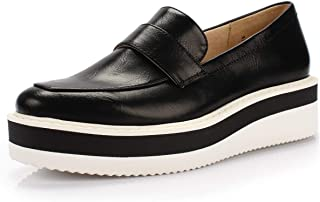 DUNION Women's Career Fashion Comfortable Penny Loafers Wedge Sneaker Almond Toe Casual Daily Shoe