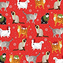 Christmas Cats Folded Wrapping Paper with Cats in Hats, Scarves and Mittens, 2 Feet x 10 Feet Easy to Store Folded Wrappin...