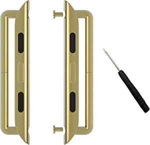 Linwood Metal Alloy Band Clasps/ Lugs for Apple Watch Stainless Steel Iwatch Band Adapter Strap Connector with Screwdriver for Apple Watch Series 1 Series 2 Series 3 Series 4 (42mm, Gold)
