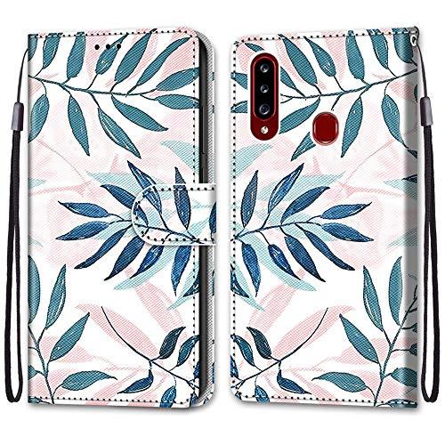 Nadoli Handyhülle Leder für Samsung Galaxy A20S,Bunt Bemalt Rosa Grün Blätter Trageschlaufe Kartenfach Magnet Ständer Schutzhülle Brieftasche Ledertasche Tasche Etui