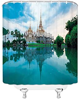 Castle Shower Curtain Thai Royal Palace Tower Green Palm Tree Lake White Cloud Blue Sky Special Ancient Architecture Decor Polyester Cloth Waterproof Bathroom Set Curtains 70x70 Inch With Hooks White
