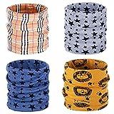 ANSUG 4 paquetes de calentador de cuello de algodón para niños, Ring Infinity Loop Pañuelo para el cuello Snood Bufanda Sombrero Bandana para niños niñas