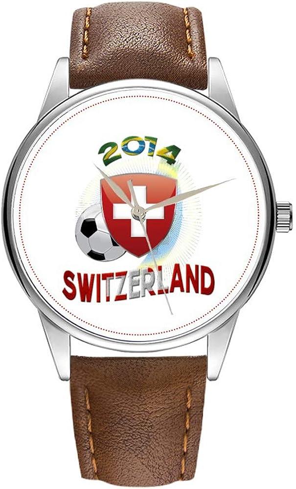 Reloj de hombre de cuarzo marrón Cortex para hombre, famoso reloj de pulsera de cuarzo para regalo promocional World of Soccer 2014 Suiza