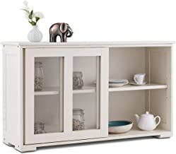 Costzon Kitchen Storage Sideboard, Antique Stackable Cabinet for Home Cupboard Buffet Dining Room (Cream White with Sliding Door Window)