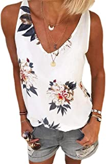 Comaba Women Plus-size Floral Print Casual V-Neck Summer Tank Top Shirts