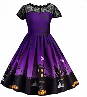 Party Dress Toddler Teen Kids Dress Girls Halloween Lace Costume Ruched Printed Dress Party Clothes
