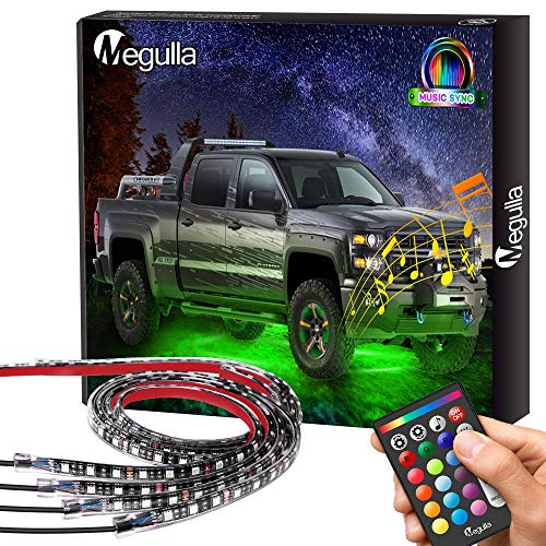Underglow Underbody Lighting Kit, Megulla Multicolored LED Strip Lights, Neon Accent Ambient Lights, Music SYNC, IP68 Waterproof, RF Remote for Cars Interior Exterior Trucks Off-Roads Golf Carts SUVs
