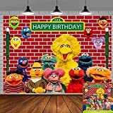 Elmo Cartoon Brick Wall Street Backdrop Party Supplies High Lamp Post Photography Background for 1st First Girl Boy Baby Shower Birthday Events Decorations Cake