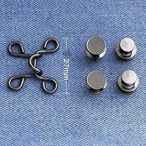Haipeiy Hebilla de Cintura sin Clavos 3 pcs, Extractor de Cintura con botón extraíble Hebilla de Jeans Ajustable para Cambiar el tamaño de la Cintura de los Pantalones